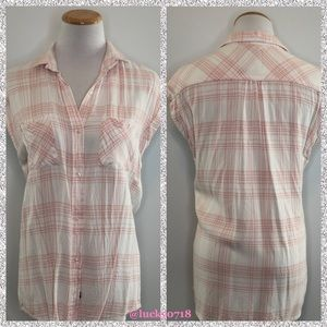 Rails Britt White Pink Short Sleeve Plaid Top XS